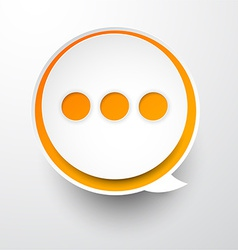 Paper white-orange round speech bubble vector image vector image