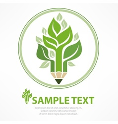 Pencil like tree in round vector image vector image