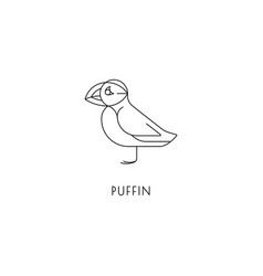 Puffin outline icon vector
