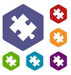 Puzzle rhombus icons vector