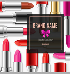 realistic 3d lipstick advertizing banner card vector image