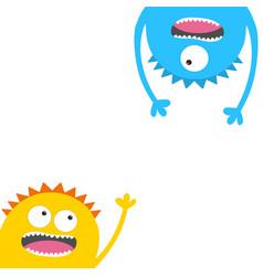 screaming monster head silhouette set eyes teeth vector image