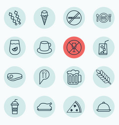 Set of 16 eating icons includes soda stick vector