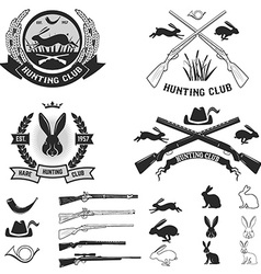 Set of hare hunting club labels vector image