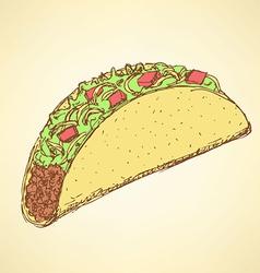 Sketch mexican taco in vintage style vector