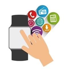 Smart watch wearable technology communication vector