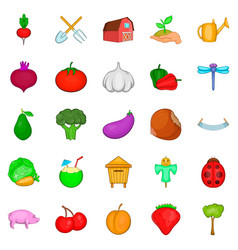 Vegetable stew icons set cartoon style vector