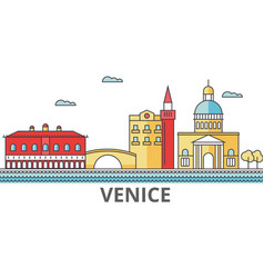 venice city skyline buildings streets vector image