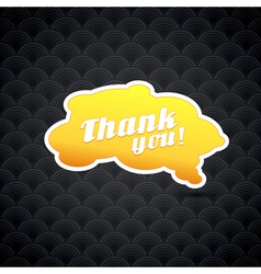 Yellow board with thank you sign vector image
