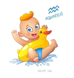 Zodiac sign aquarius child enjoys swimming water vector