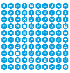 100 insects icons set blue vector