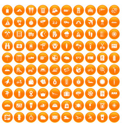 100 tourist trip icons set orange vector