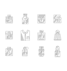 Set of bottles of perfumes flat line icons vector