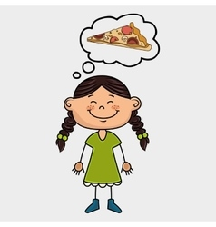 girl pizza food speak vector image