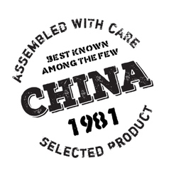 Assembled in china rubber stamp vector