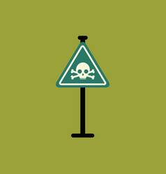 Skull danger road sign vector