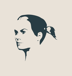Silhouette of a female head face half turn view vector