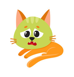 cat kitten feeling sick to stomach green from vector image