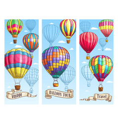 Hot air balloon sketch banner for travel design vector