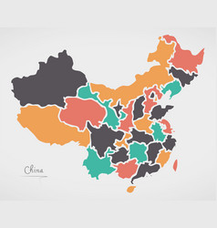 China map with states and modern round shapes vector