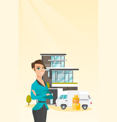 Young caucasian woman moving to a house vector