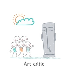 Art critic looks at the sculpture vector