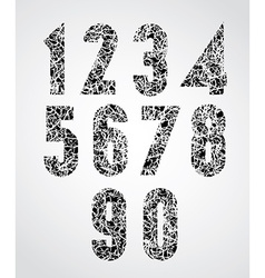 Messy dirty texture covered numbers vector