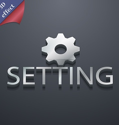 Cog settings icon symbol 3d style trendy modern vector