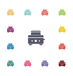 Toaster flat icons set vector