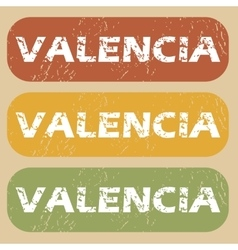 Vintage valencia stamp set vector