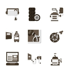 Flat style car service icons vector image