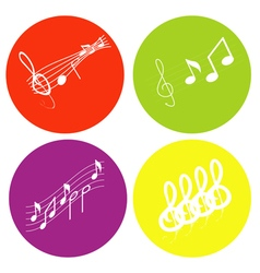 Color icon set with notes and treble clef vector