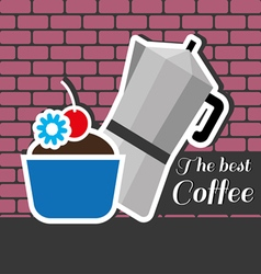 Silver metal jar of coffee with a blue cake vector