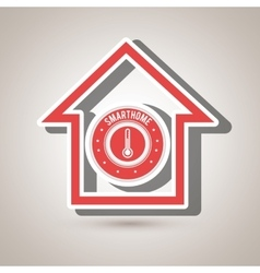 Smart home with thermometer isolated icon design vector