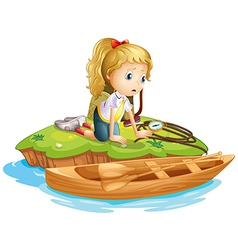 A sad girl trapped in an island vector image vector image