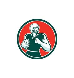 American football running back circle retro vector
