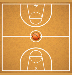 basketball court with a ball vector image vector image