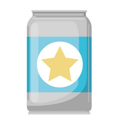 beer can in colorful silhouette with star emblem vector image vector image