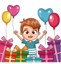 Boy with birthay gifts and balloons vector