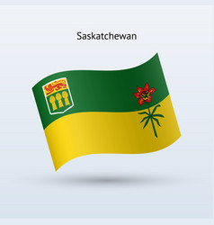 canadian province of saskatchewan flag waving form vector image