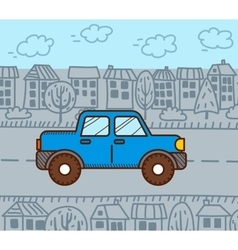 Car in the city vector