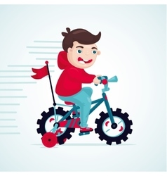 Child on a bike little boy is cycling kids vector