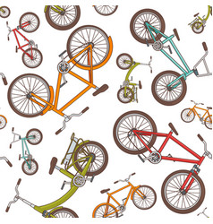 Colorful cartoon bicycles seamless pattern vector