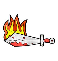 comic cartoon flaming sword vector image vector image