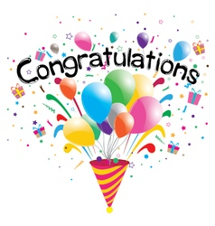Congratulations party isolated on white background vector image vector image