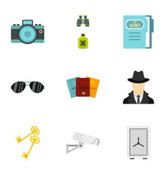 detective icons set flat style vector image