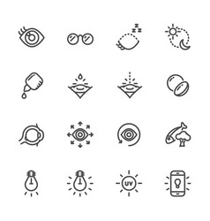 eye care for good eye health and vision icons vector image