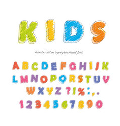 Font pencil crayon for kids handwritten vector