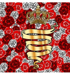 golden banner and crown vector image vector image