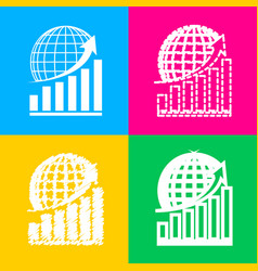 Growing graph with earth four styles of icon on vector